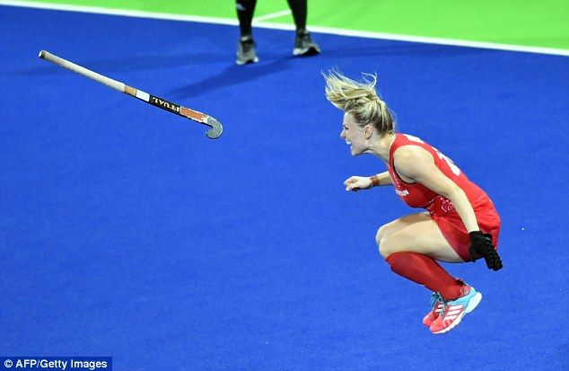 Britain's Hollie Webb celebrates after scoring the winning goal in the penalty…