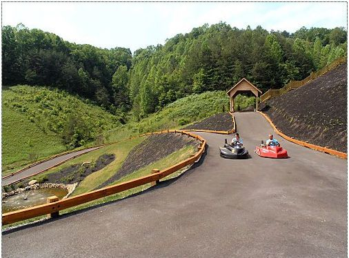 Cabin rental near Pigeon Forge Tennessee that includes a go-kart track on the 5 acre property.