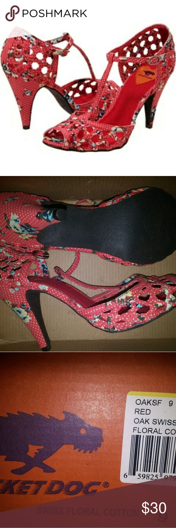 New Rocket Dog floral cotton t-strap heels. Size 9 New with box red floral and dot cotton heels from Rocket Dog. Very very adorable print and t-strap design. Vintage/Pinup style! Size 9. Note because of design of shoe, they may fit an 8.5 best or narrower feet. Rocket Dog Shoes Heels