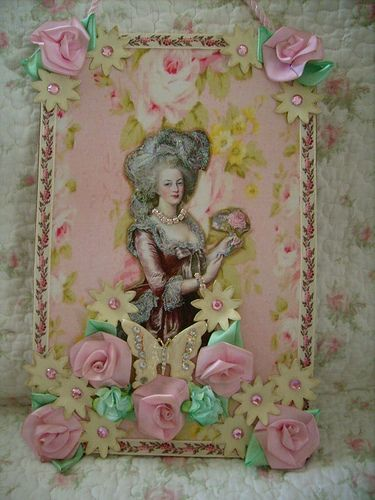 Grote kool rozen, sjofel, huisje, victoirian, frans, marie antoinette muur opknoping 1 door stephanies huisje!, Via Flickr