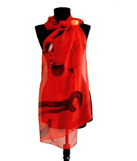 Red shawl wrap paint by hand. Joan Miro shawl by AHouseAtelier