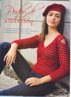 CARAMELO ARDIENTE es... LA PRINCESA DEL CROCHET: blusa: Crochet Garment, Looper, Crochet Blusa, Princesa Del, Crochetknit Tops, Crochet Tops, Crochet Patterns, Crochet Red, Crochet Clothing