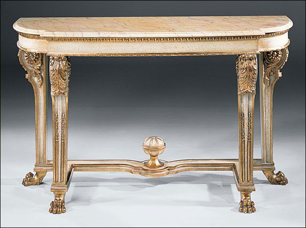 Empire Carved Console   Empire Style Carved Wood Console Table With Antique  Gold Leaf And Ivory Finish, Valencia Marble Top With Beveled Edge
