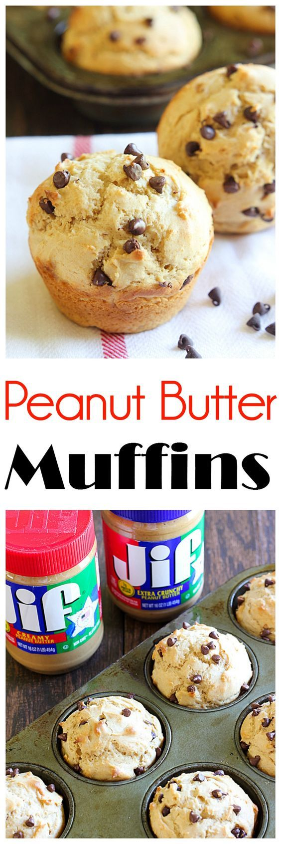 These Peanut Butter Muffins are a great breakfast or snack made with Jif peanut butter to give them delicious protein and flavor!
