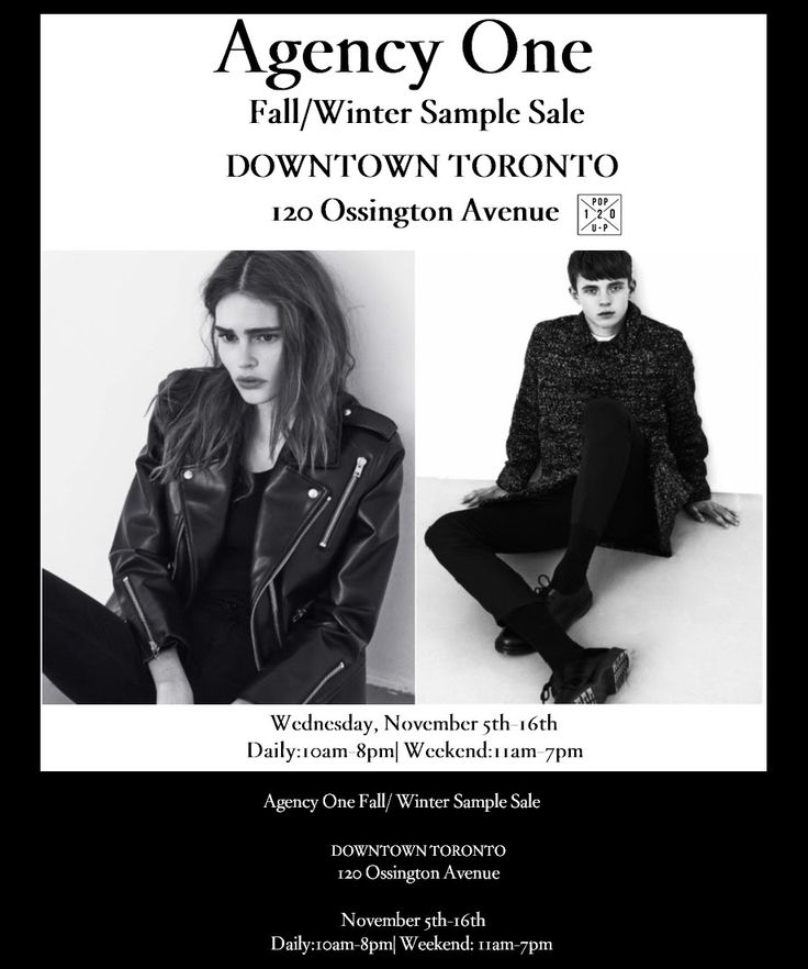 Agency One (#agencyone) Fall Winter/Sample Sale  Downtown Toronto 120 Ossington Avenue Wednesday Nov 5th - 16th  Daily 10am - 8pm | Weekend 11am - 7pm  https://plus.google.com/+theSceneinTO/posts/2KiZyXTHJr1