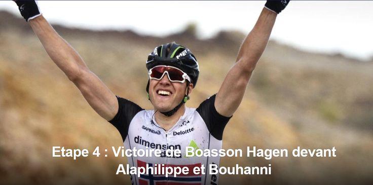 CRITERIUM DU DAUPHINE - Edvald Boasson Hagen a remporté la 4e étape, jeudi entre Tain-l'Hermitage et Belley. Le champion de Norvège (Dimension Data) remporte cette 4e étape en devançant au sprint Julian Alaphilippe (Etixx-Quick Step) et Nacer Bouhanni...