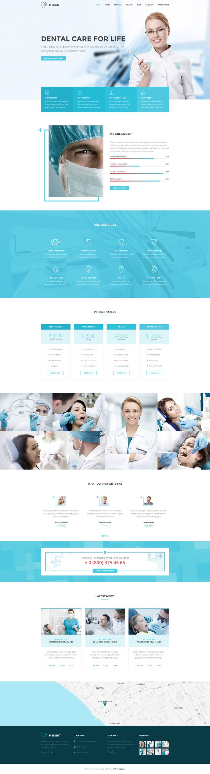 Medent – dental clinic PSD template   Medent is a clean and modern PSD template for dental clinic or personal dentist website. The theme has perfect typography, clean and crispy design, thought th...