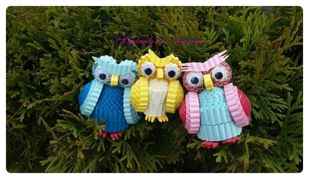골판지 공예로 만든 부엉이 가족 이에요. (조화공예 한지꽃) : 네이버 블로그
