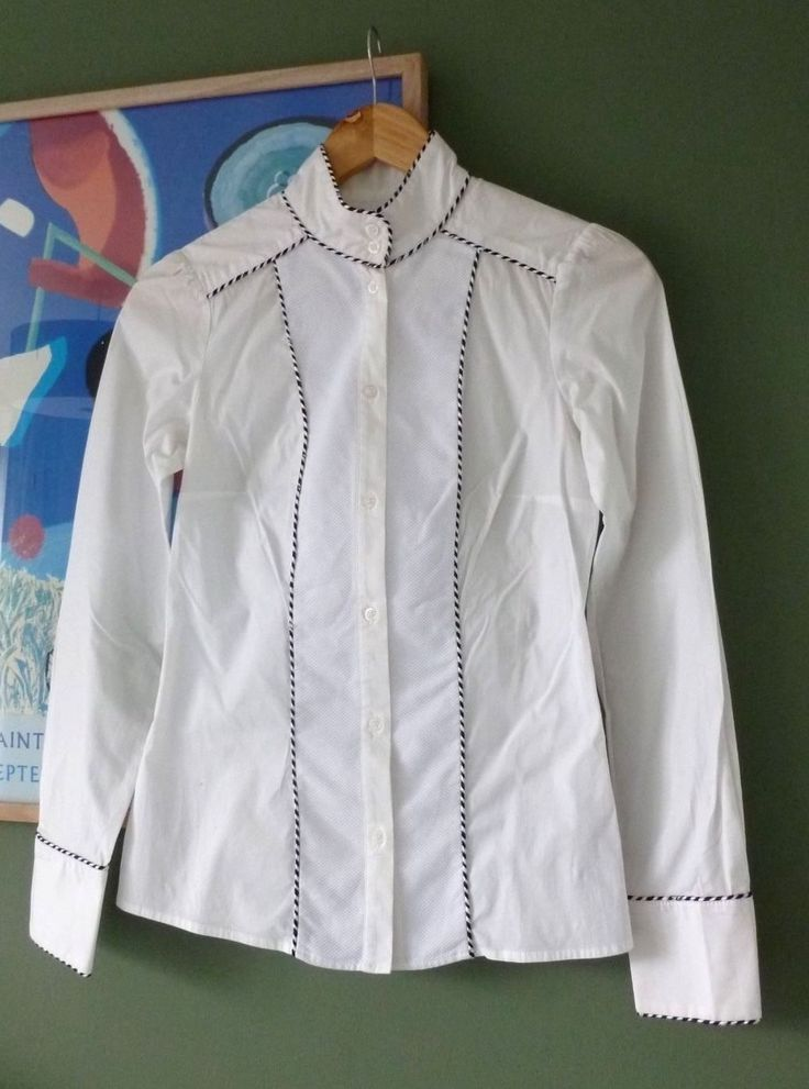 Womens Reiss White Fitted Trimmed Cotton Shirt Top Size 6 | eBay
