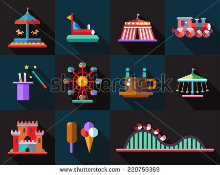 Set of vector flat design amusement park icons - stock vector