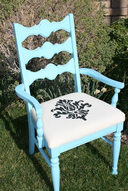 ReMarkable Home: Refinished Chair for Desk - stencil made using Silhouette