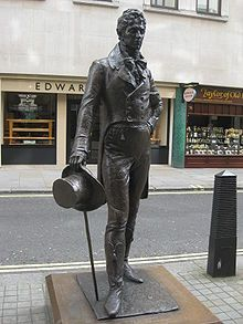 "George Bryan Brummell, born 7th June, 1778, commonly known as 'Beau' Brummel. An iconic figure in Regency England, he is credited with introducing and establishing the modern men's suit and tie as a fashion. He took five hours to dress, and recommended that boots be polished with champagne!  ""true elegance consists in not being noticed"" #dandy #style #menswear #iconicstyle #ss15 #londonsculpture #londonfashion #historiclondon www.kingdom-london.com"