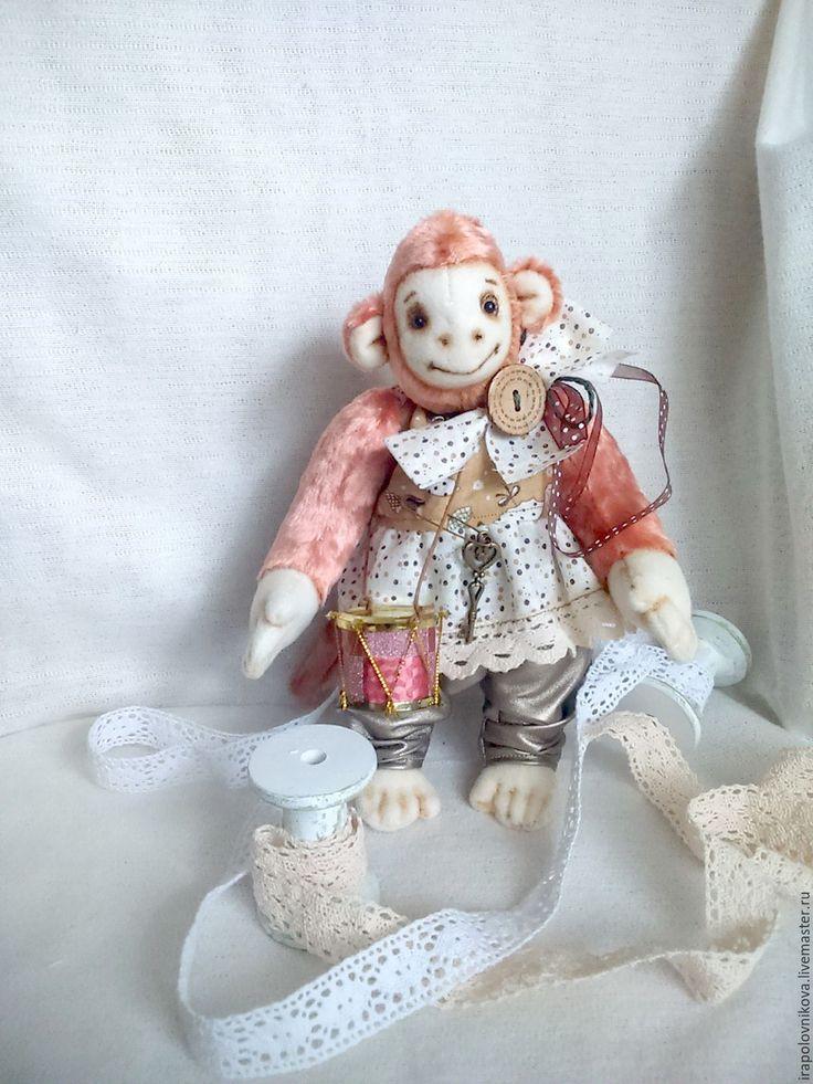 Купить Обезьянка Мила. - кремовый, бежевый, белый, коричневый, коралловый, обезьяна, обезьяна символ 2016