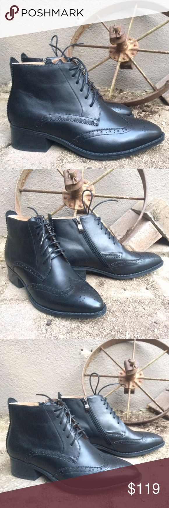 Black Women's Brogue genuine leather ankle boots Black Women's Brogue / Wingtip Boots genuine leather ankle length boot size 6.5 Pair of gorgeous new never worn black genuine leather brogue boots.   Lace up and zipper sides. Heel 1.5 inches. Size 6.5 This style is hard to find in US stores!   Martin Boots Women Brand Brogue Style Wingtip Ankle Length Lace-Up Genuine Calf Leather Ladies Shoes Handmade Shoes Ankle Boots & Booties