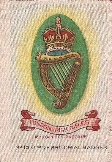 LONDON IRISH RIFLES - Silk cigarette card, issued by Godfrey Phillips, England 1915
