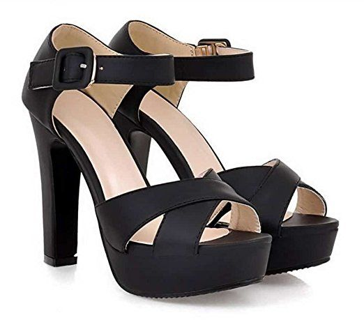 High Heel Sandals Platform Ankle Strap Open Toe Buckle Black 8.5