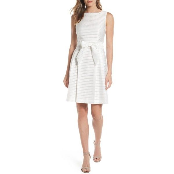 Women's Anne Klein Shadow Stripe Fit & Flare Dress (€120) ❤ liked on Polyvore featuring dresses, optic white, going out dresses, white pleated dress, white day dress, night out dresses and white wrap dress