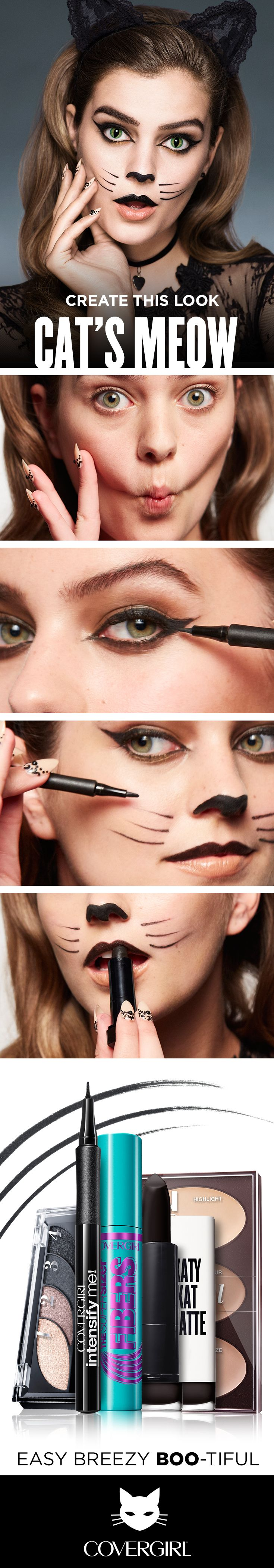 Follow this Halloween DIY Tutorial to create the Spooky Halloween Cat look. Use truBLEND Contour Palette for pretty kitty definition, then play up your eyes with soft, smokey shadow. Use Super Sizer Fibers Mascara for outrageously long lashes. Next, use Intensify Me! Eyeliner to create dramatic Cat's eyes and draw on a cute nose and whiskers. Finish the look with Katy Kat Matte Lipstick in Perry Panther on your upper lip only. Easy, Breezy, Boo-tiful!