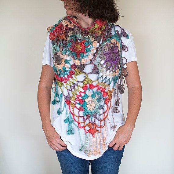Knitted Shawl, Knit shawl, Crochet Shawl ,Crochet Scarf , Lace Shawl, Colorful Wrap