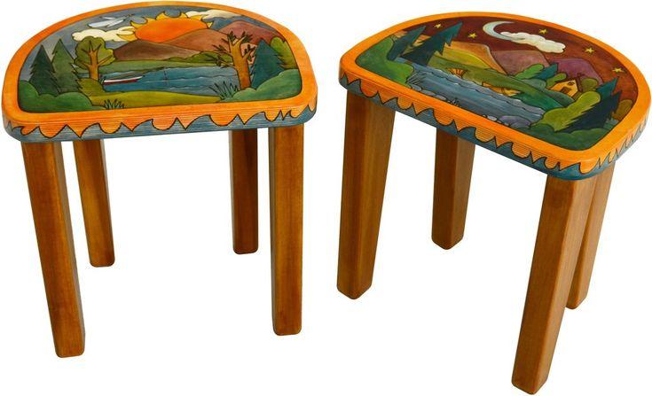 Sticks handmade short stool set