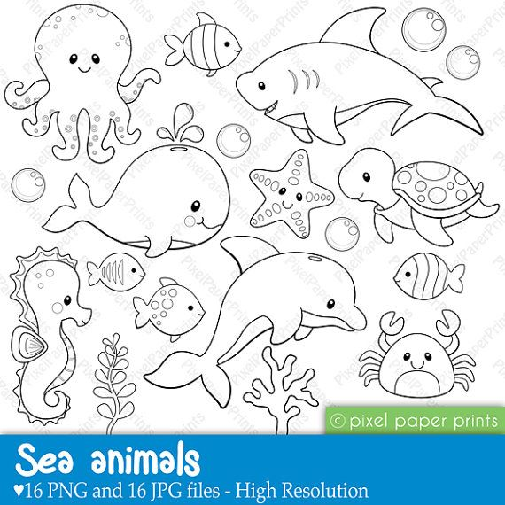 Sea Animals Digital Stamps by pixelpaperprints on Etsy, $5.00                                                                                                                                                                                 Mais