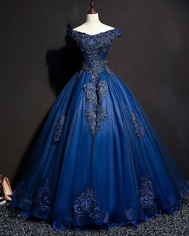 Azul marinho tule v pescoço fora do ombro longo personalizar vestido de baile, vestido de festa com mangas   – Kleidung