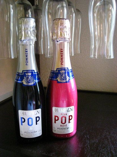 Small bottles of Pop Champagne and Sparkling Rosé for the wedding party