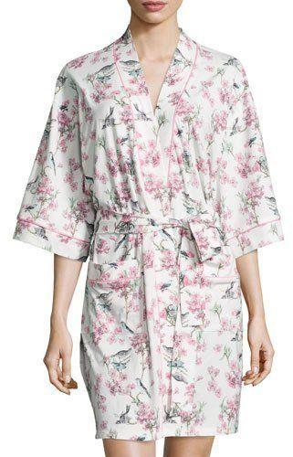 BedHead Bird Toile-Print Short Kimono Robe, Blue