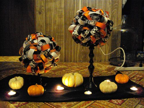 ribbon pomanders maybe a centerpiece definitely different colors halloween centerpieceshalloween themeshalloween funwedding - Halloween Centerpieces Wedding