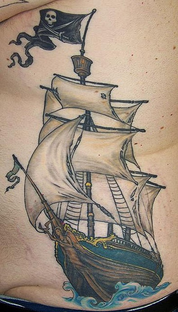 pirate ship tattoo by jde75, via Flickr // not sure why this came up while I was searching pinterest for wombats but hey, nice ship