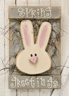 KP Creek Gifts - Spring Greetings Bunny Sign