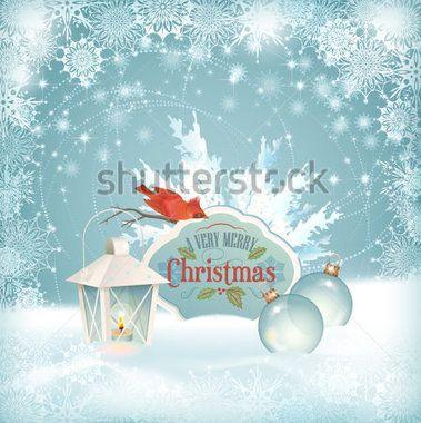 Векторный новогодний фон снега. Xmas зимние сцены с красной птицы свиристель, фонарь, елочные шары, еловые ветки дерева, старинный знак древесины, Совет, рама снежинки, сугробы. Праздник Зимний пейзаж