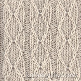 Diamonds and Stripes Stitch Pattern, knitting pattern chart, Squares, Diamonds, Basket Stitch Patterns