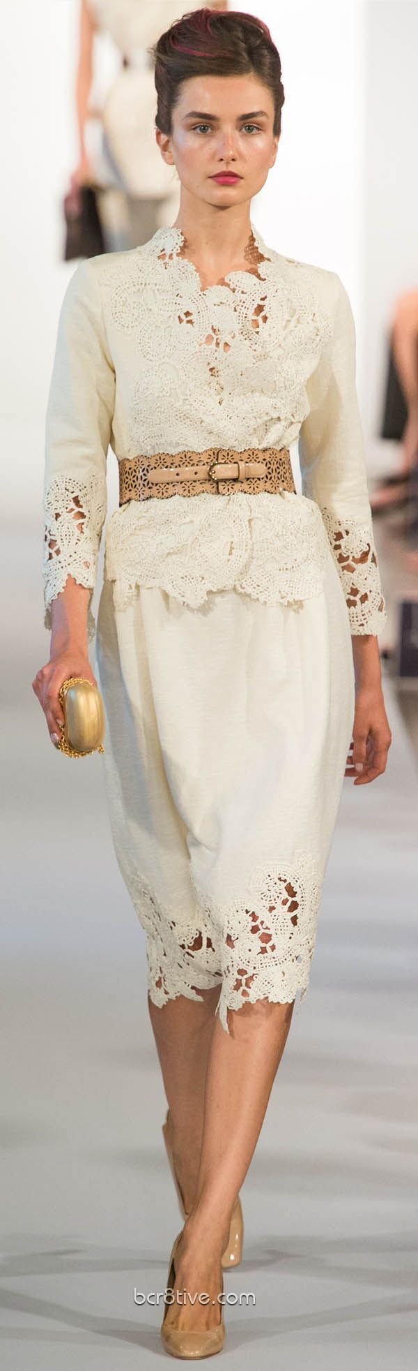 Oscar De La Renta Spring Summer Ready to Wear 2013    More lattice, lace , crochet with  neutrals ... Yay!  Loving this!