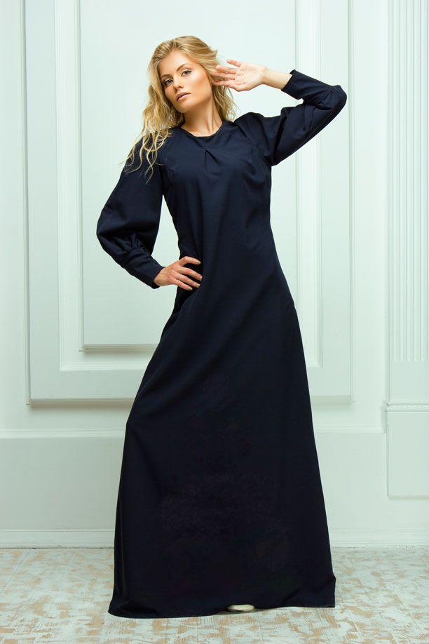Платья : Длинное синее платье с аппликацией