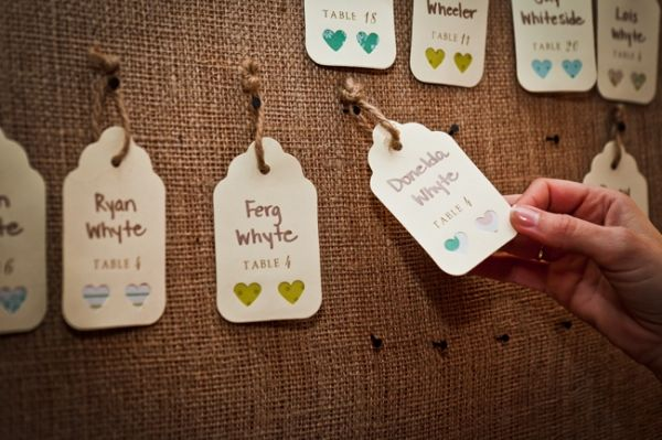 Burlap heart seating tags | SocialTables.com | Event Planning Software