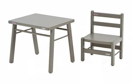 Pack Combelle : Table et chaise d´enfant, bois laqué gris