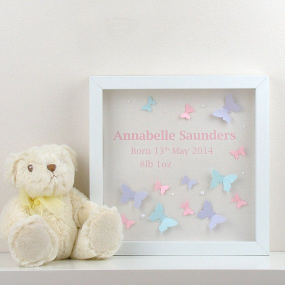 Personalised Christening Gift, 3D Butterfly Wall Art, Baby Birth Name & Date. Perfect Personalised Children's Gift or Personalised Baby Gift