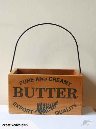 Carry box unusual Butter design, vintage NZ Kauri   Trade Me