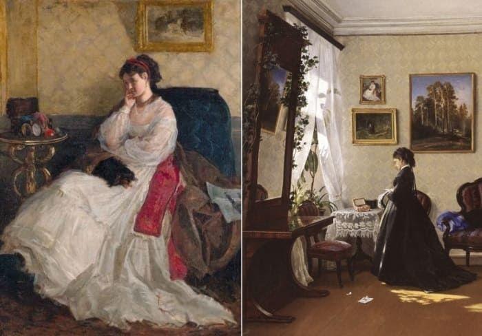 Шишкин изобразил свою жену на двух картинах: *Дама с собачкой*, 1868 и *Перед зеркалом. За чтением письма*, 1870