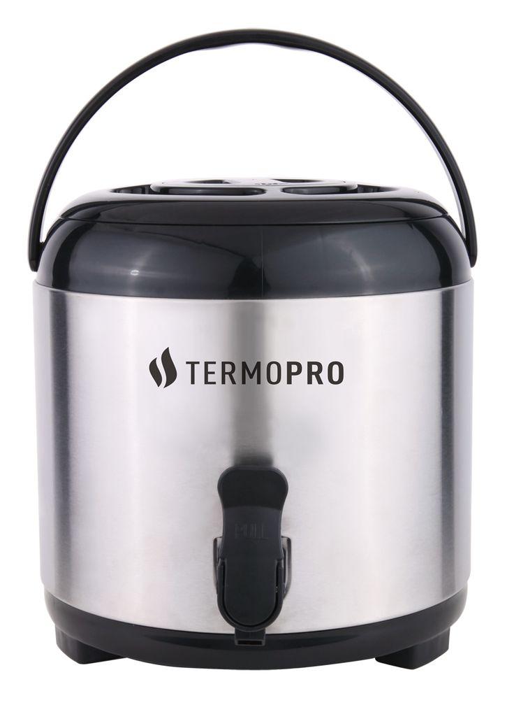 Ref.: TP6519 BOTIJÃO TÉRMICO AÇO-INOX 6L  Ideal para restaurantes, buffets, hotéis! O Botijão Térmico da Termopro é produzido com material de alta qualidade, mantendo a bebida quente ou fria por até 3 horas. Tampa removível, adequado para utilizar direto em máquina de café. Além disso, facilita a sua limpeza e manutenção. Boca larga com interior em alumínio com superfície lisa, facilitando o escoamento do líquido e a higienização da garrafa. Sistema de torneira para facilitar a retirada do…