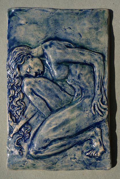 Figurative Relief Sculpture Nude Female Ceramic Tile Or