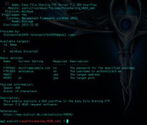 Easy File Sharing Metasploit Buffer Overflow.