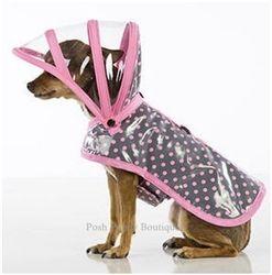 Puddle Jumper Collection Dog Raincoat-Pink Polka Dots on Gray #puddle #jumper #raincoat #dog #poshpuppyboutique