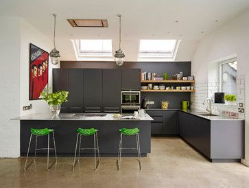Roundhouse bespoke Urbo matt lacquer kitchen in dark grey with stainless steel work surface.