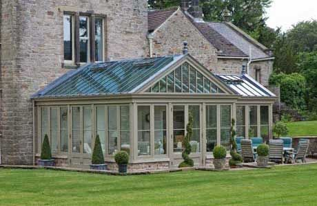 A conservatory painted in Flagstone, from Vale's conservatory paint collection.