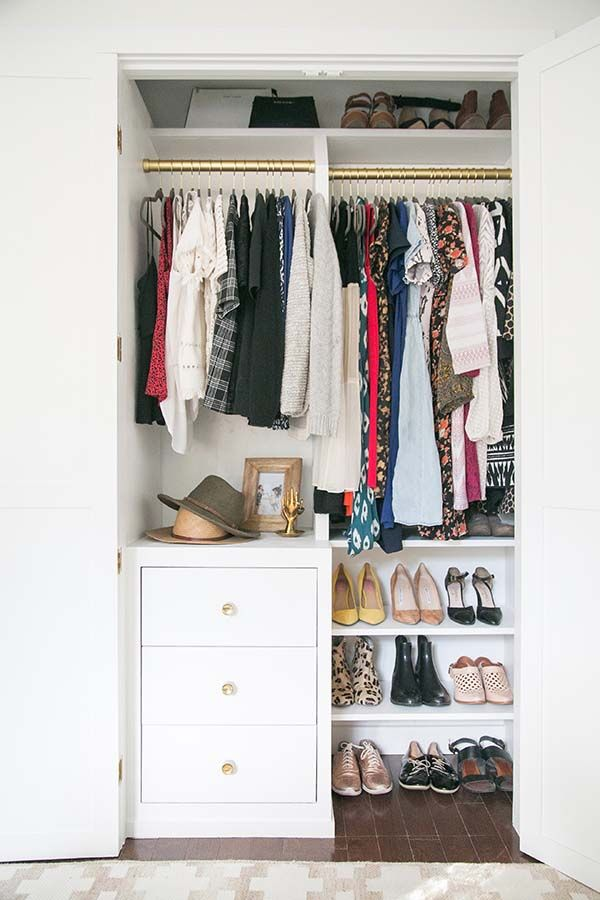 32 Ways To Squeeze More Space Out Of A Small Closet Closet Room Organizer Small Closet Storage Closet Small Bedroom