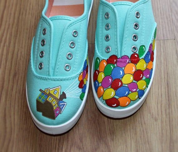 Up Inspired Disney Pixar Movie Custom Hand Painted Canvas Sneakers These Shoes   – DIY