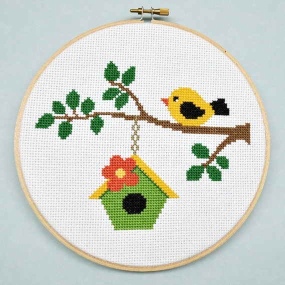 #bird #birdhouse #cute #cross_stitch #stitchery #crafts