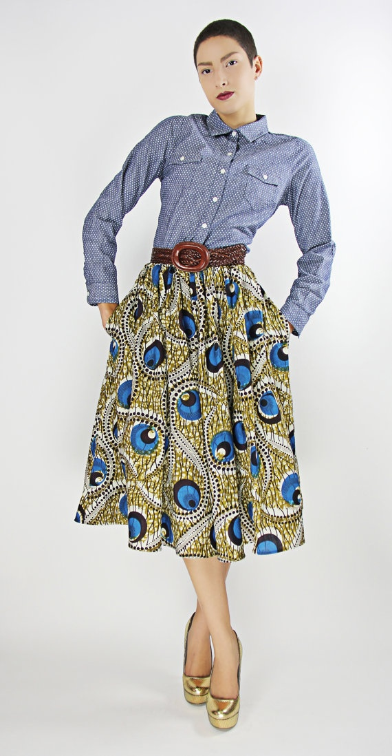 African Print SkirtMidi Skirts, Shavon African, Fashion Ideas, African Fashion Style, African Inspiration, Denim Shirts, Prints 100, Holland Wax, African Prints Skirts